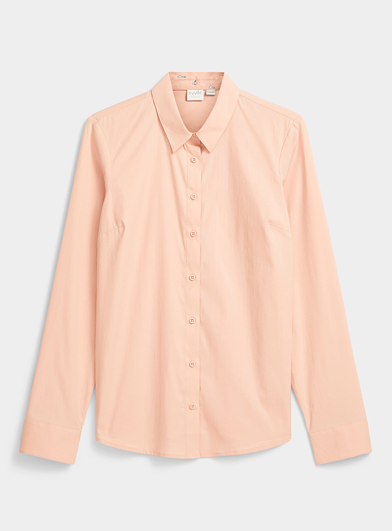 Twik Marine Blue Solid stretch cotton shirt for women