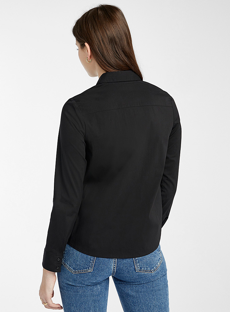 Twik Black Basic stretch cotton shirt for women