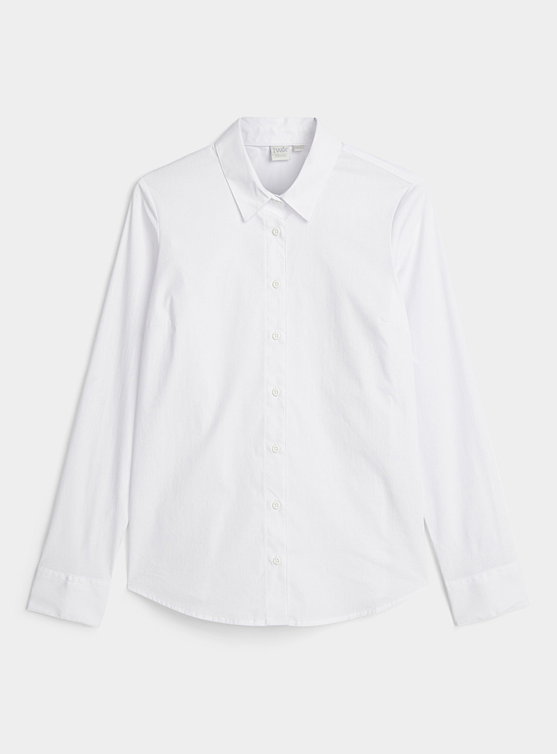 Twik White Basic stretch cotton shirt for women