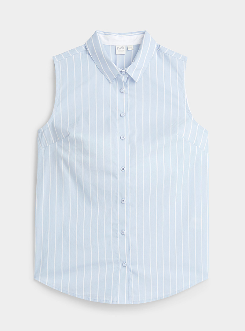 Sleeveless mini-pattern shirt