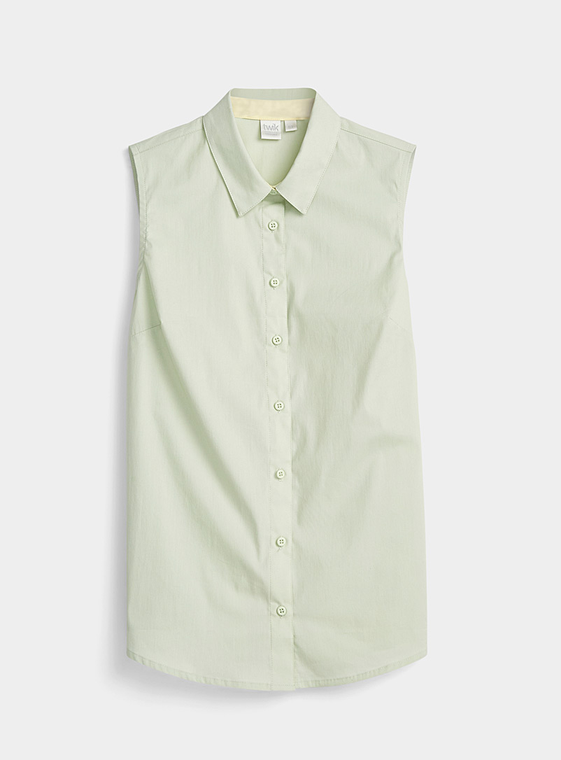 Twik Lime Green Basic sleeveless shirt for women