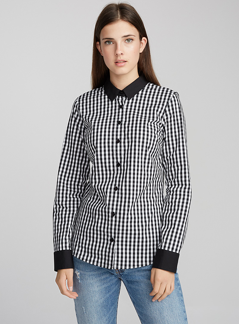Essential point collar stretch shirt - Classic - Black and White