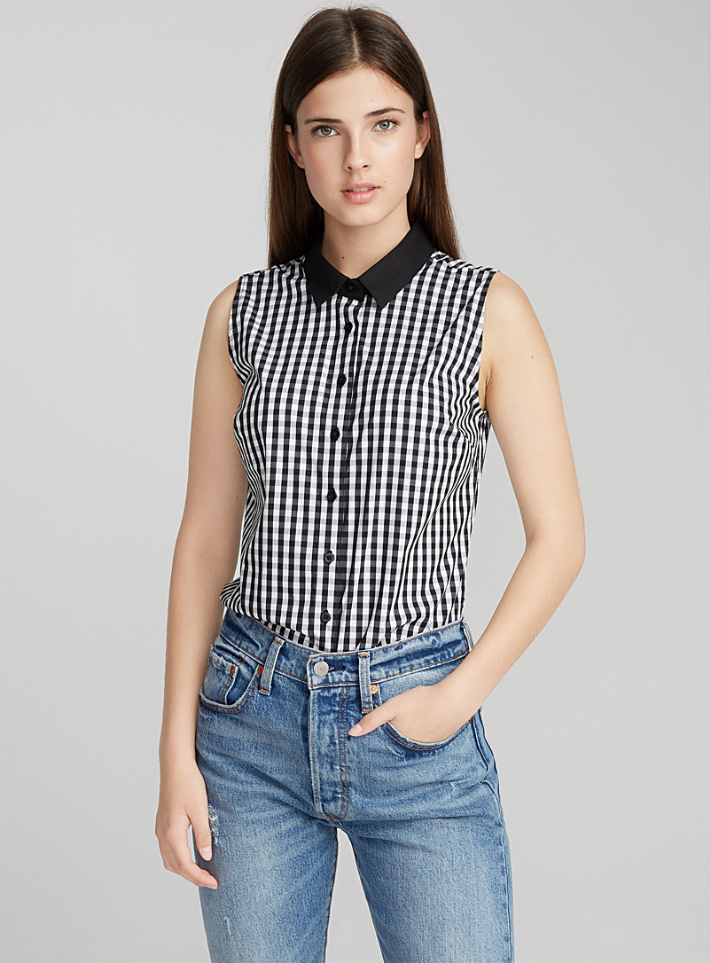 Sleeveless shirt - Classic - Black and White
