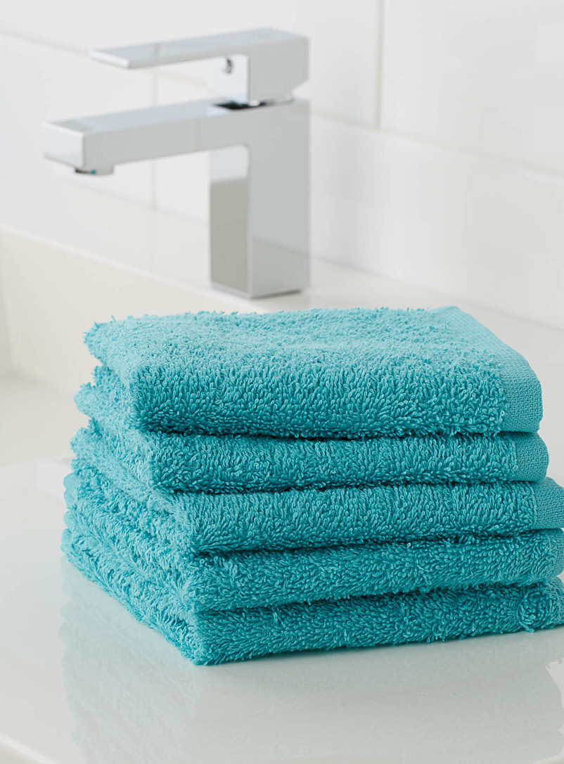 Extra-value colour facecloths  Set of 5 - Daily Use - Teal