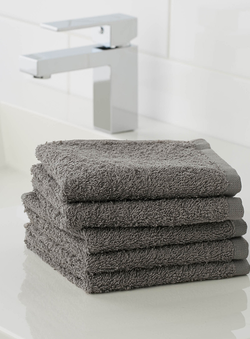 Extra-value colour facecloths  Set of 5 - Solid - Dark Grey