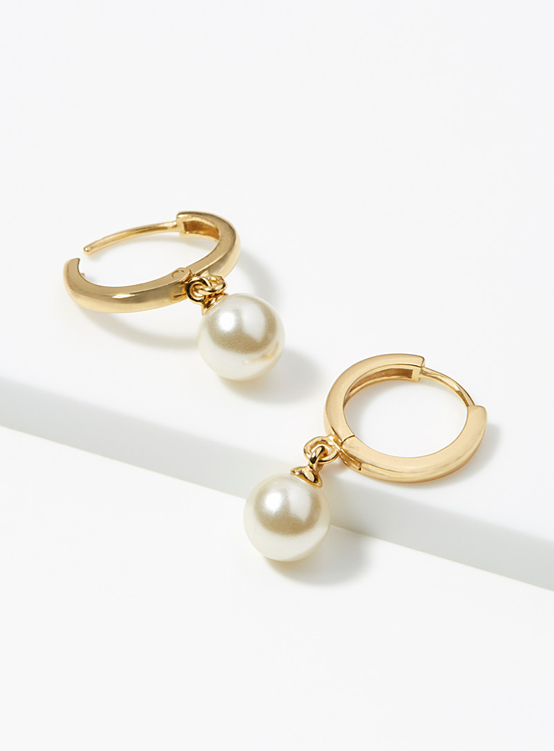 Orelia Assorted Pearl pendant hoops for women