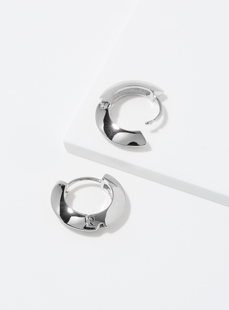 Orelia Silver Small streamlined hoops for women