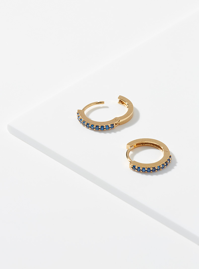 Orelia Patterned Yellow Small sapphire blue hoops for women