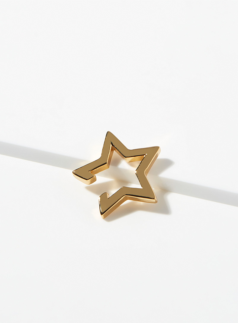 Orelia Gold Openwork star ear cuff for women