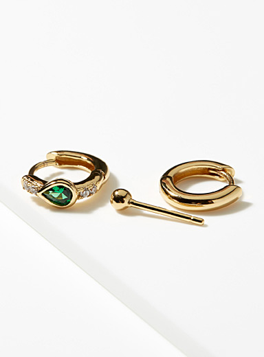 Emerald trio earrings <br>Set of 3