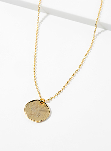 Small hammered medallion necklace