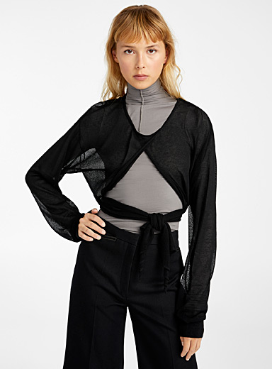 Lemaire Black Cocoon-like sweater for women