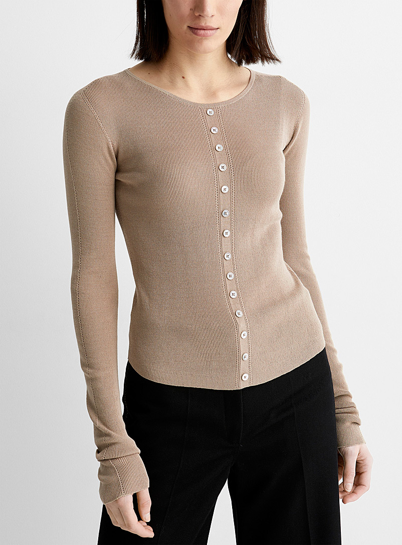 Lemaire Sand Second-skin ribbed sweater for women