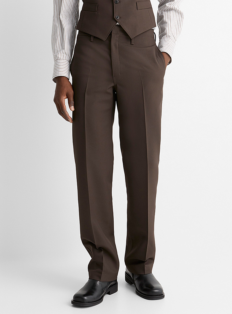 Lemaire Brown Engineered weave pant for men
