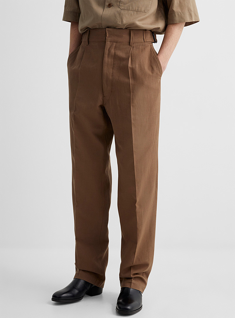 Lemaire Brown Soft linen-cotton military chinos for men