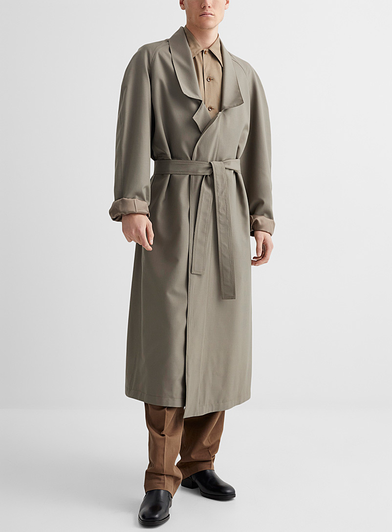 Lemaire Light Brown Tropical wool long coat for men