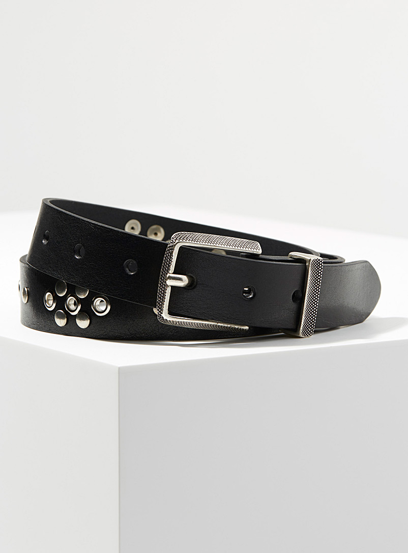 Lemaire Black Studded belt for men