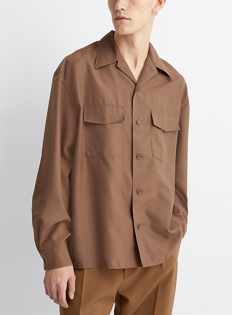 Lemaire Brown Soft wool shirt for men