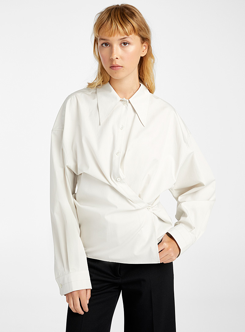 Lemaire Light Grey Retro collar New Twisted blouse for women