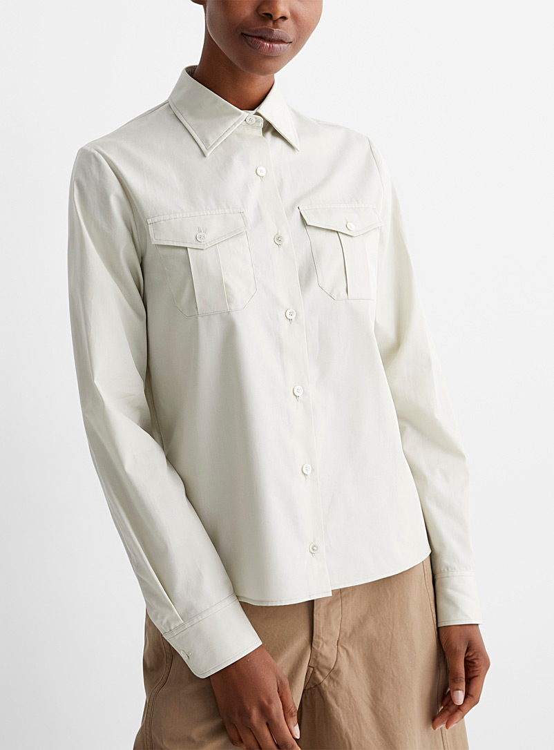 Lemaire Cream Beige Two-pocket blouse for women