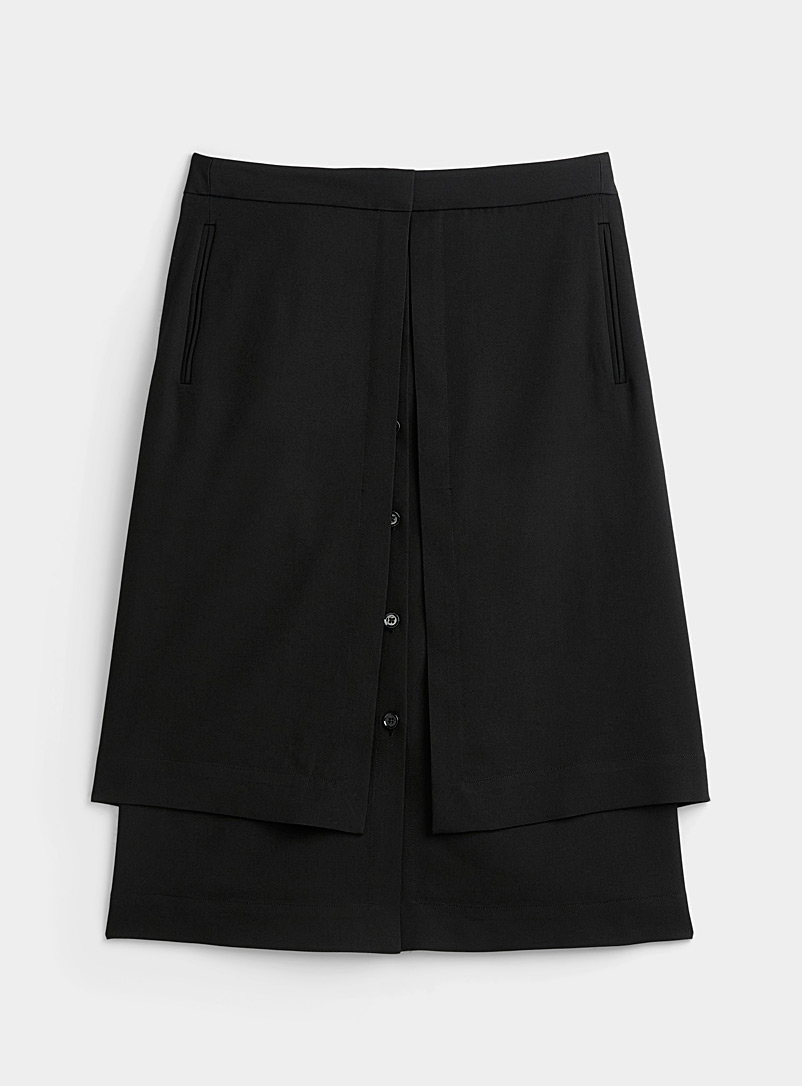 Lemaire Black Layered double skirt for women