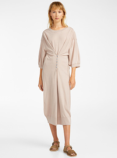 Lemaire Dusky Pink Inverted seam loose dress for women