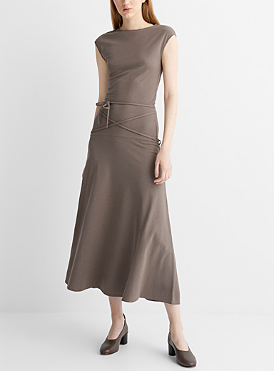 Crepe jersey sleeveless dress