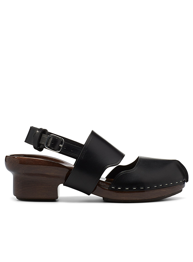Lemaire Black Wood and vegetable-tanned leather clogs for women