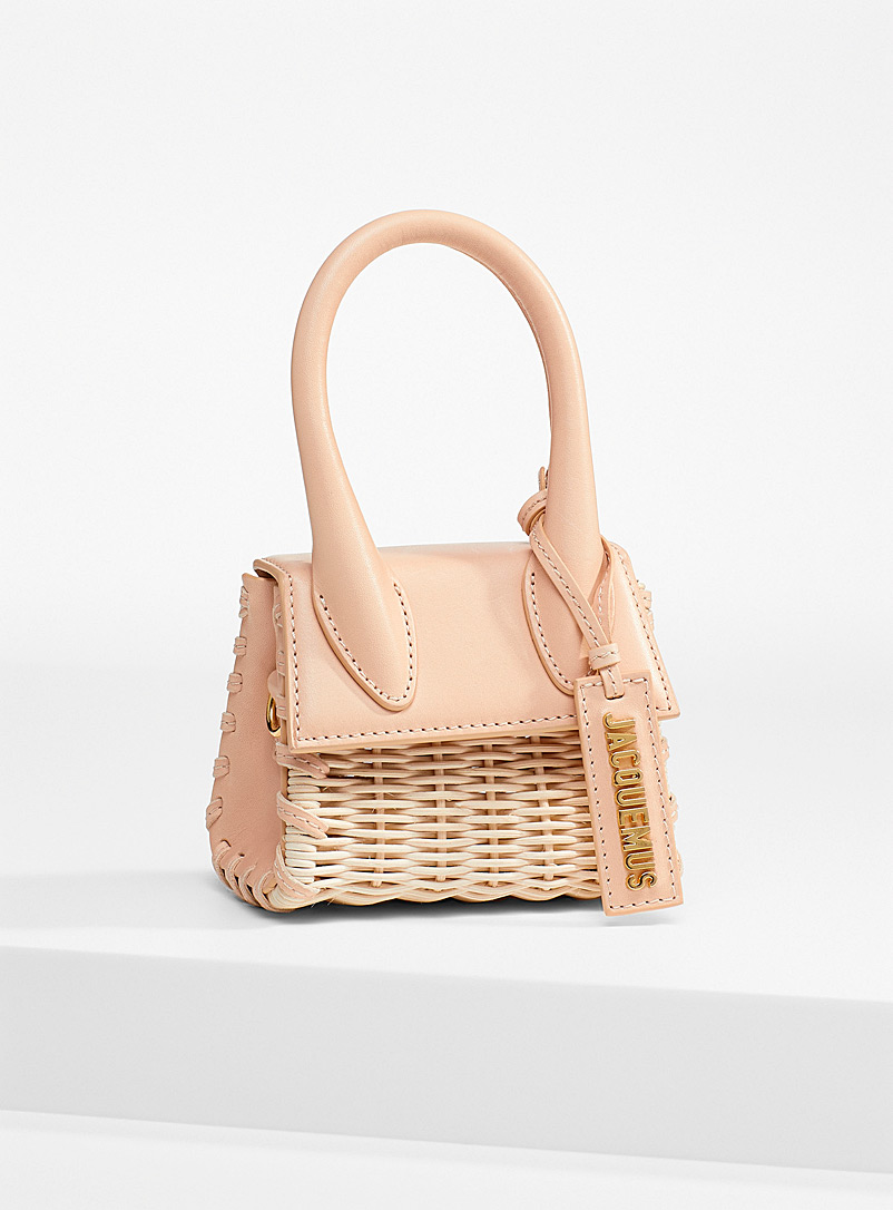 Jacquemus Patterned Ecru Leather and rattan Chiquito mini-bag for women