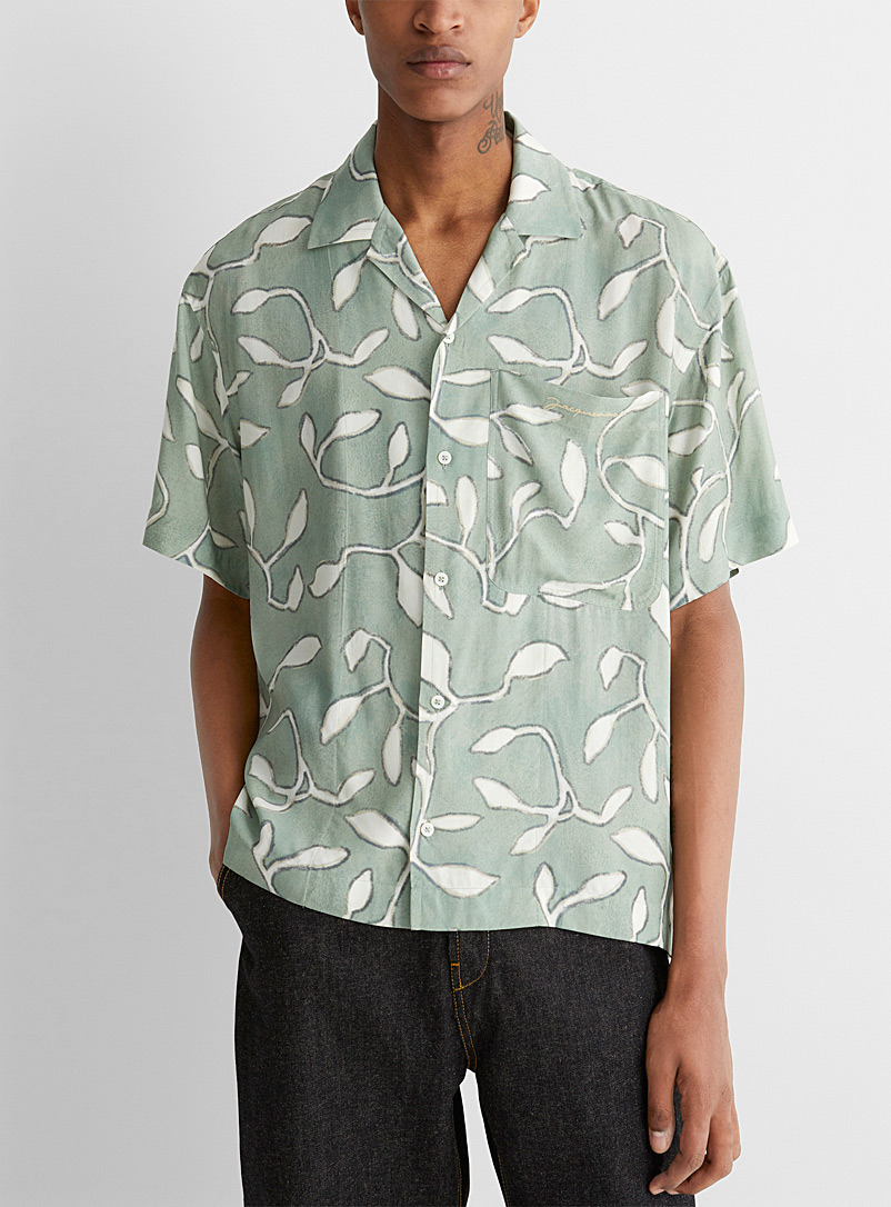 Jacquemus Patterned Green Foliage-print Jean shirt for men