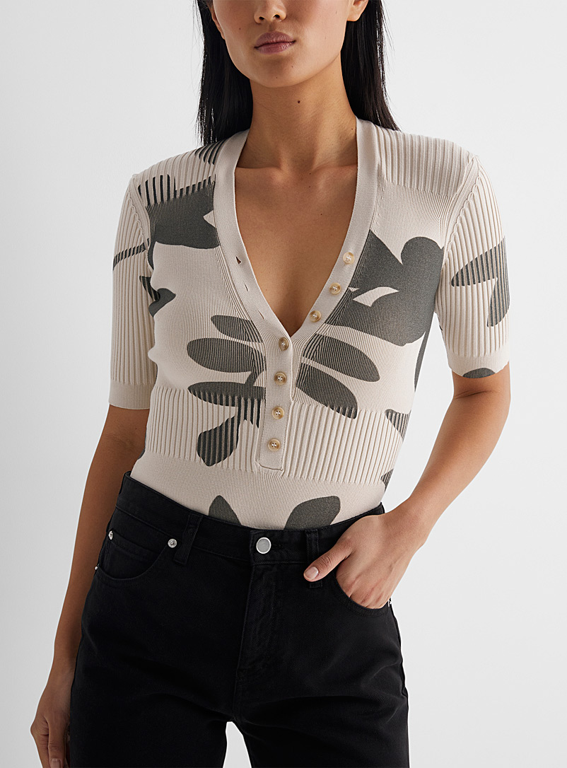 Jacquemus Patterned Ecru Yauco bodysuit for women