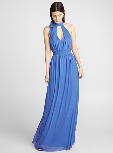 Blue horizon halter dress
