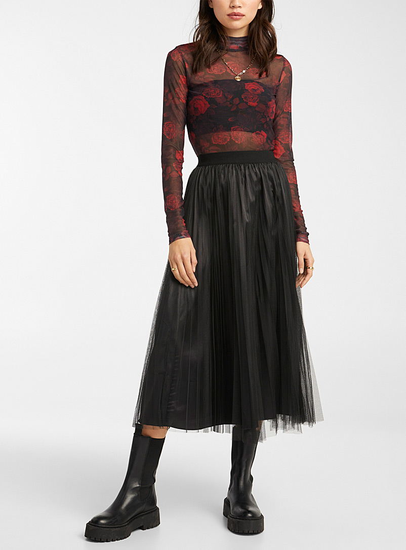 Mini-pleat tulle midi skirt