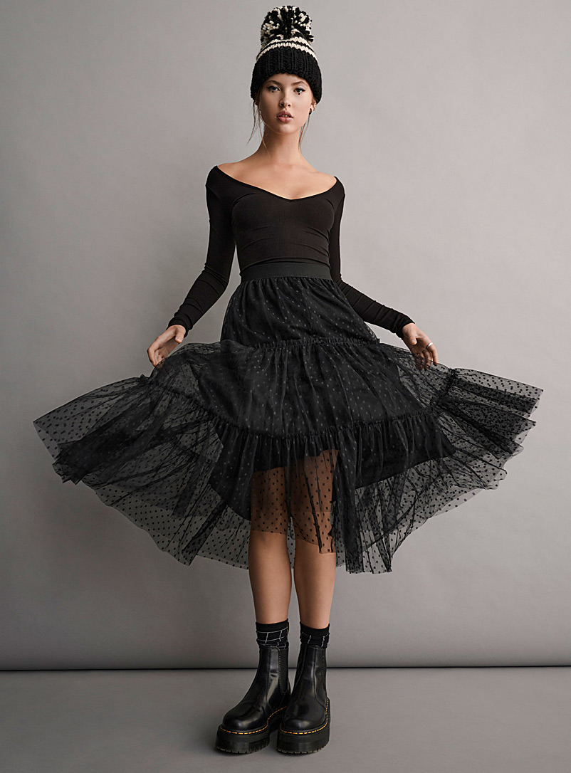 Twik Black Dotted tulle midi skirt for women