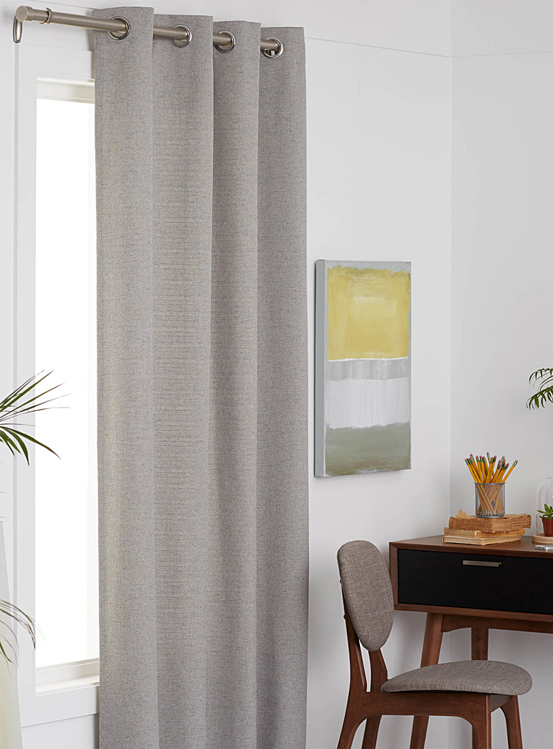 Heathered weave curtain  140 x 220 cm - Solid - Light Grey