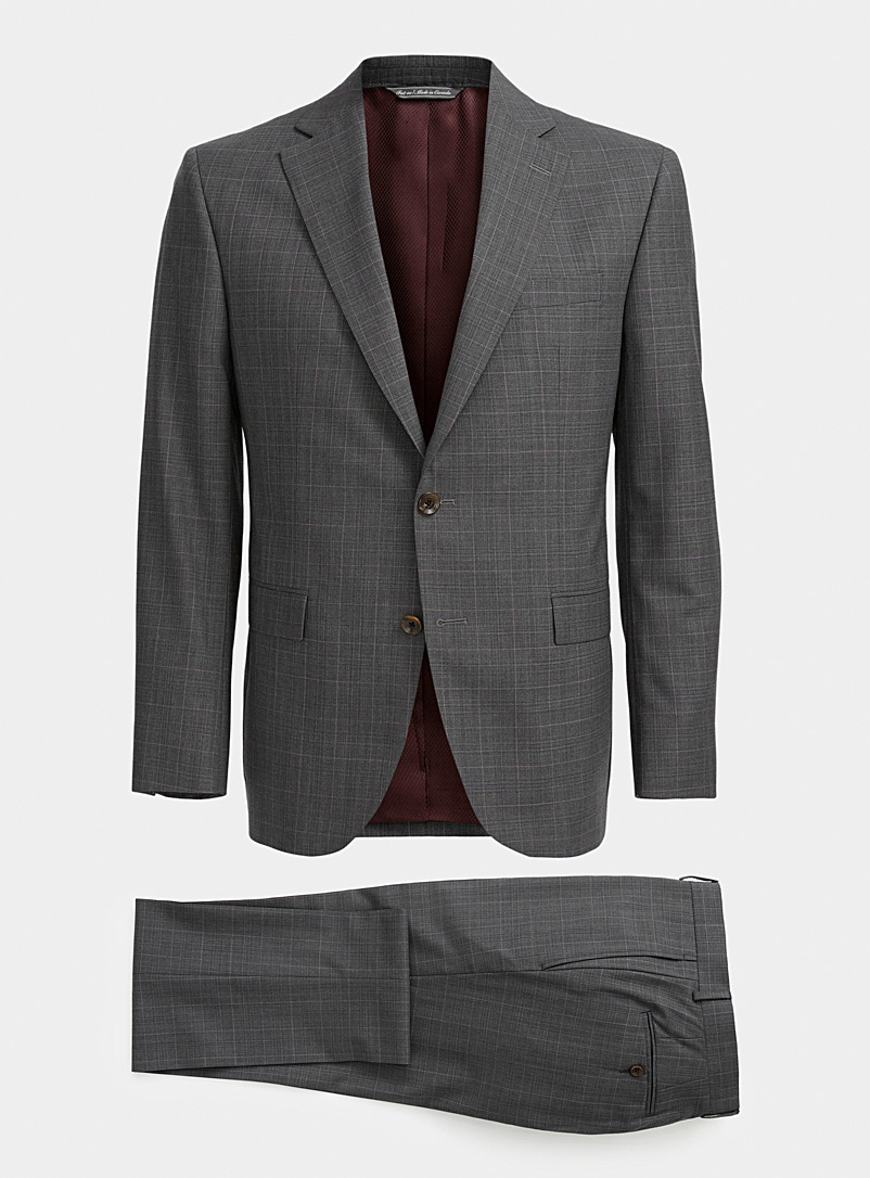 Jack Victor Patterned Grey Pink accent ash-grey suit  Regular fit for men