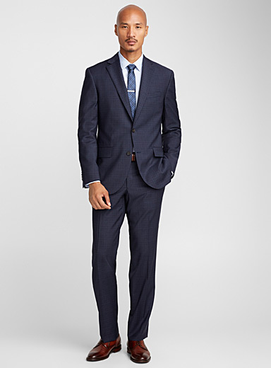 Navy check suit <br>Regular fit