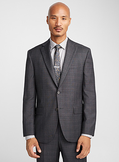 Lilac-accent charcoal suit  Regular fit