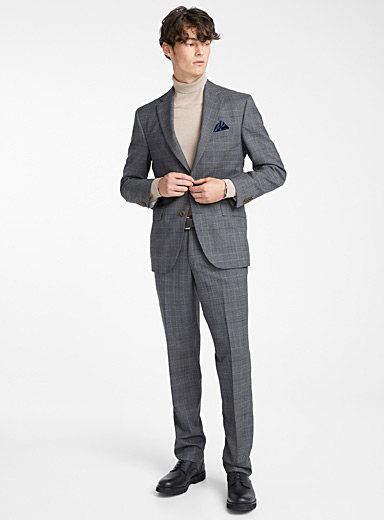Blue Prince of Wales suit <br>Regular fit