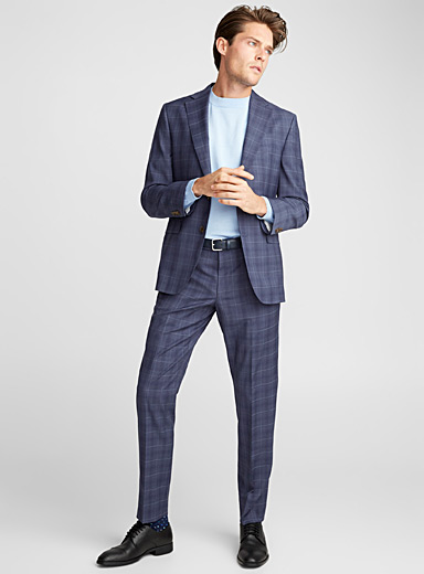 Tone-on-tone check suit <br>Regular fit
