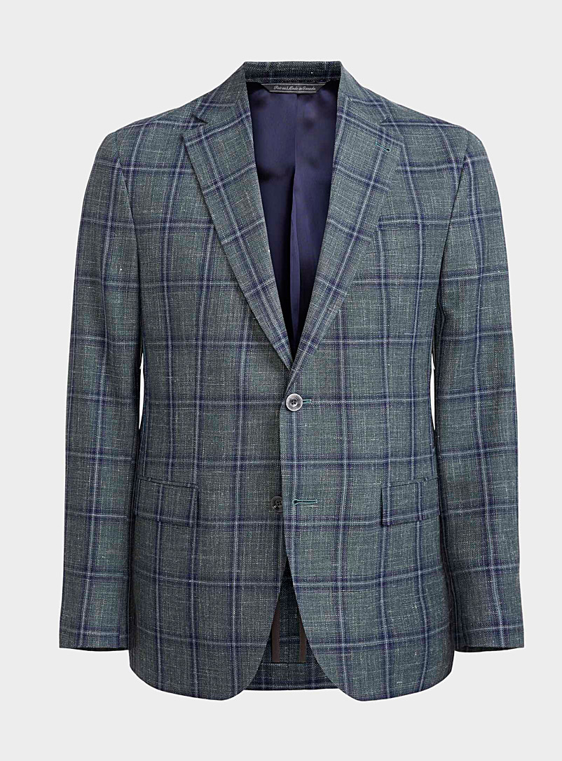 Jack Victor Green Raw check blazer  Regular fit for men