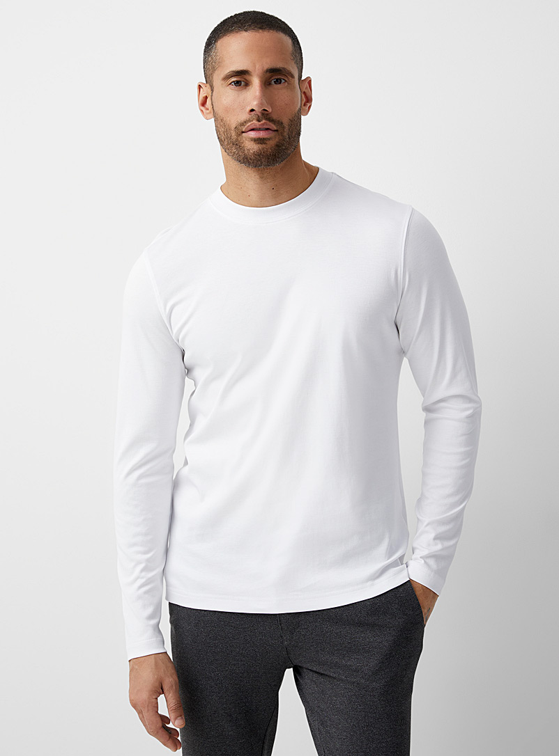 Robert Barakett White Luxurious pima cotton long sleeves T-shirt for men