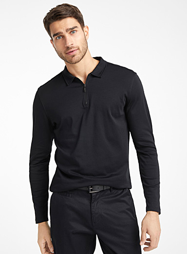 Pima cotton zip polo