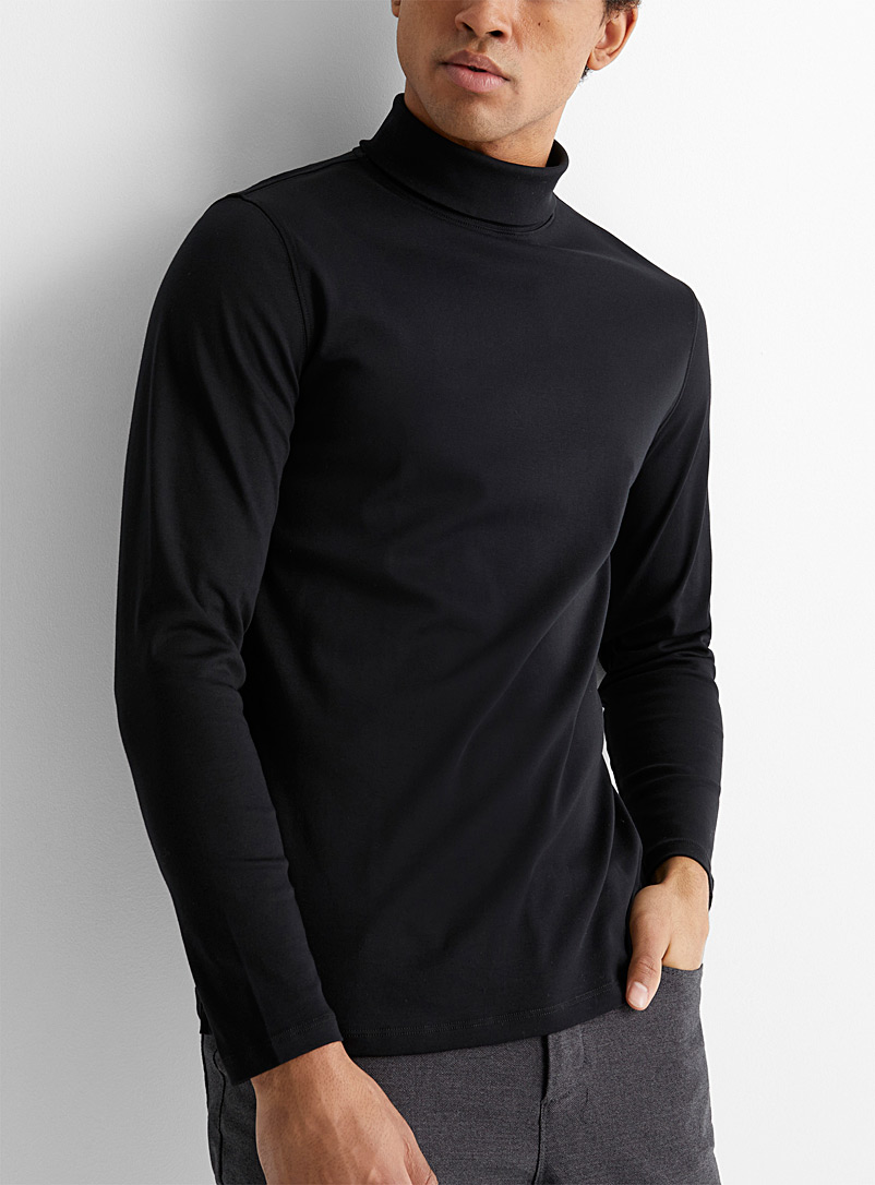 Robert Barakett Black Pima jersey turtleneck for men