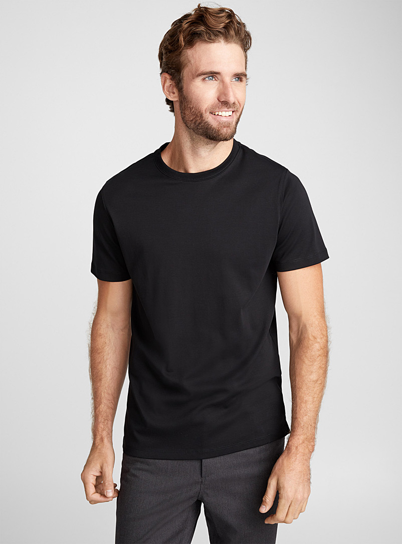 Luxurious Pima cotton T-shirt - Short sleeves & 3/4 sleeves - Black