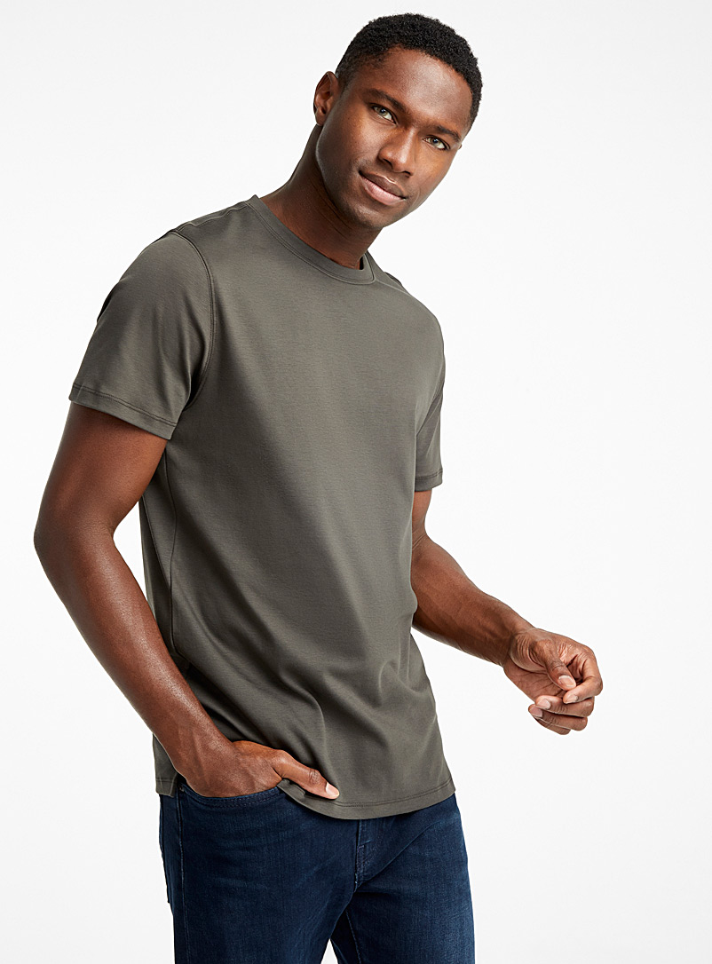 Luxurious Pima cotton T-shirt - Short sleeves & 3/4 sleeves - Mossy Green