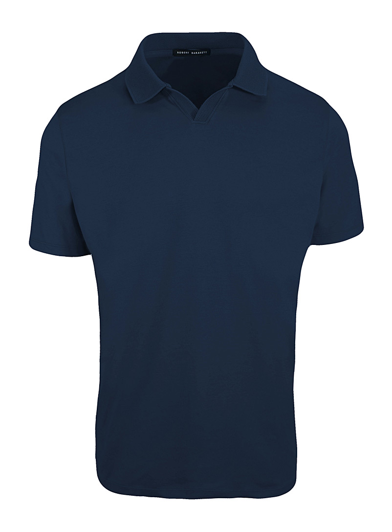 Robert Barakett Blue Johnny collar Pima cotton polo for men