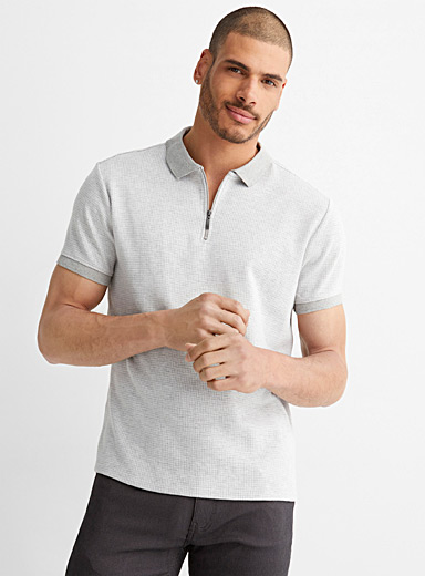 Double-faced jacquard polo
