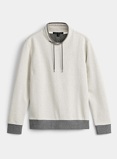 Crossover tunnel-collar piqué sweatshirt