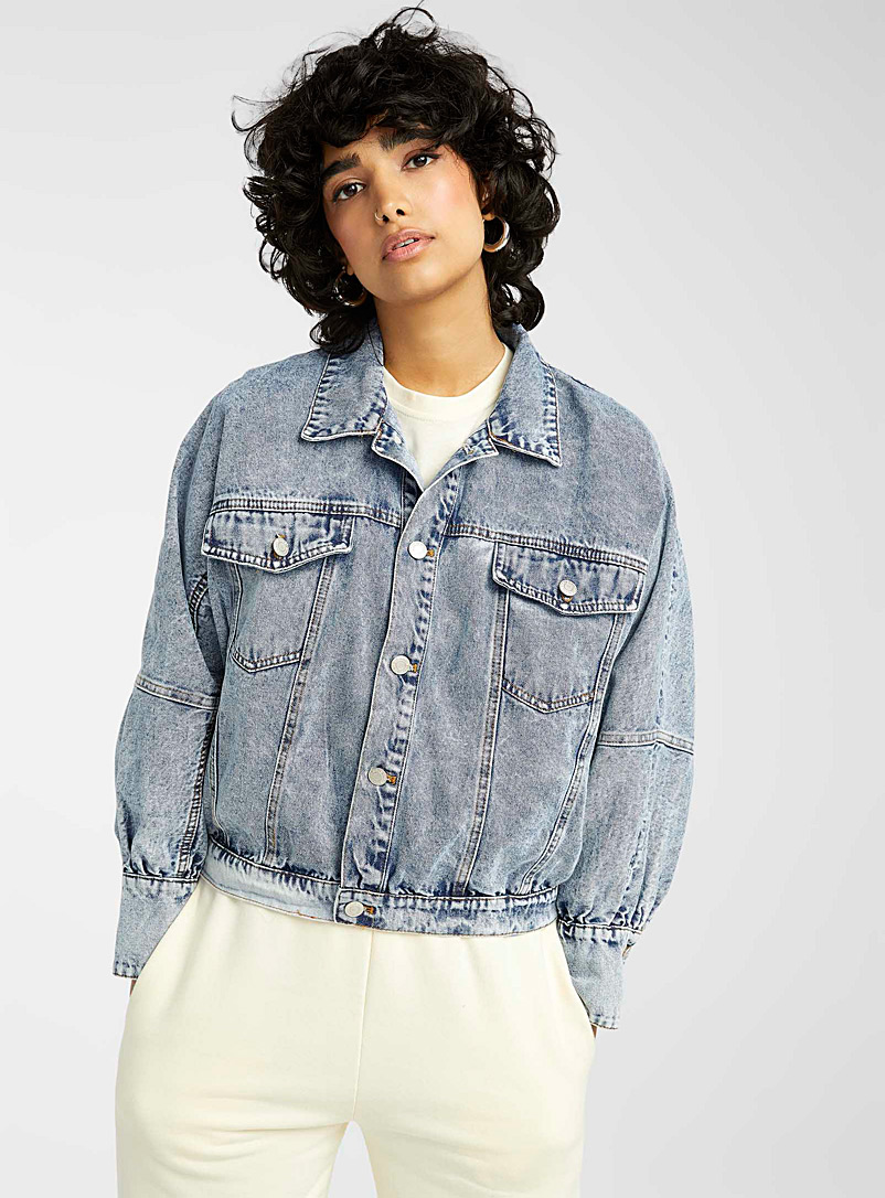 Twik Baby Blue Batwing-sleeve jean jacket for women